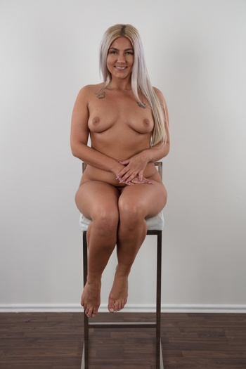 Preview Czech Casting - Patricie, the new Czech amateur is pretty wild. She told us she had countless non-commital sex adventures with guys, girls, group sex, gangbang with strange guys on holiday... Yeah, this blonde fucks anything within her reach. And today she'll show you her natural tits and wet pussy. Enjoy today's casting...