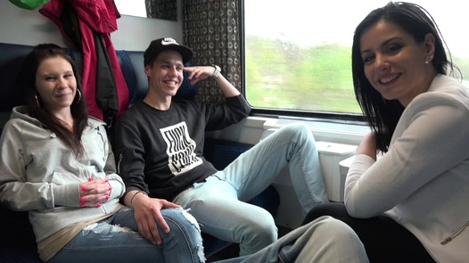 Teenagers fuck on train