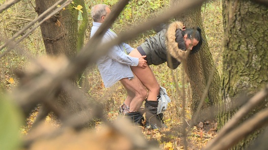 Nympho rides a grandpa in bushes | Czech Experiment 11