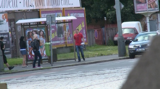 Guy cums on a student in the street | Czech Experiment 12