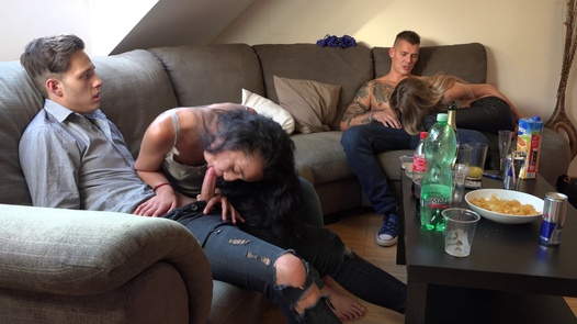 Inked bitch swallows cocks | Czech Home Orgy 11 part 3