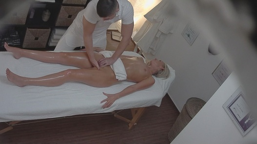 Blonde MILF gets fucked during a massage