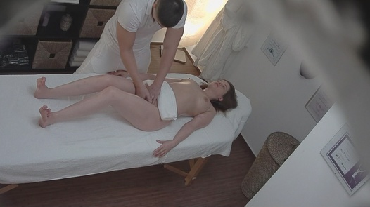 Brunette fucks the masseuse