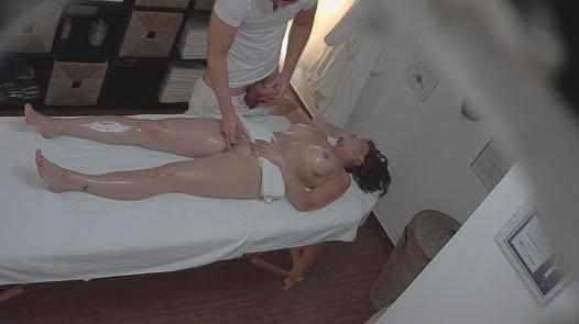 Busty brunette fucks the masseuse