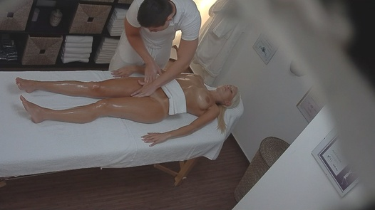 Blonde model on the massage