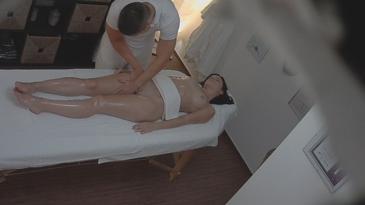 Brunette gets massaged