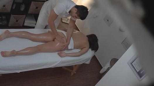Lovely brunette gets a massage