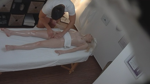 Blonde fucks the masseuse 2