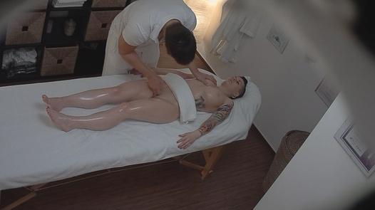 Punk girl blows the masseuse
