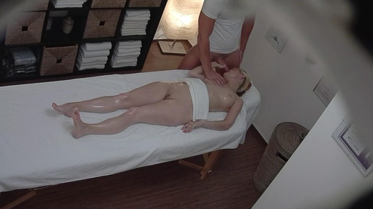 Blonde MILF blows the masseuse