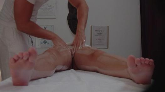 Brunette enjoying the erotic massage