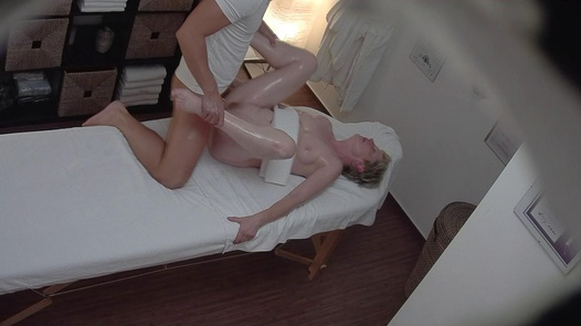 Blonde MILF fucks the masseuse 2