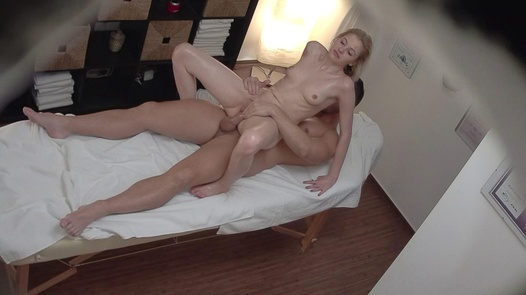Blonde model fucks the masseuse 3