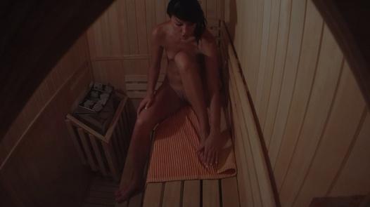 Hot brunette alone in sauna
