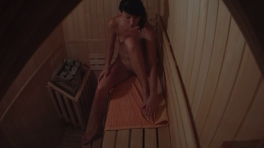 Hot brunette alone in sauna