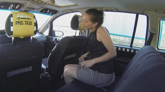 Brunette squirts all over the car | Czech Taxi 10