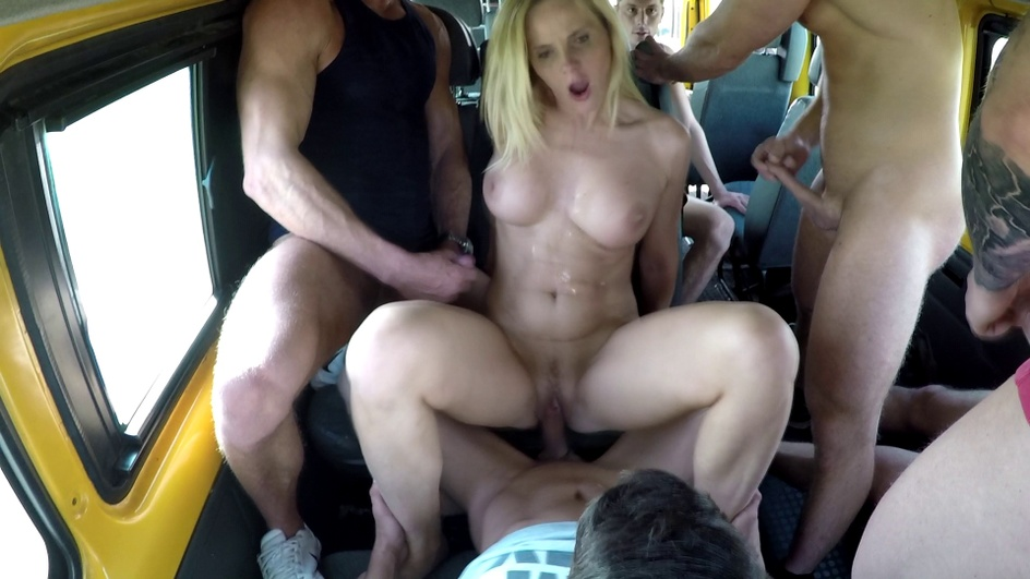 Hot gangbang with a busty MILF